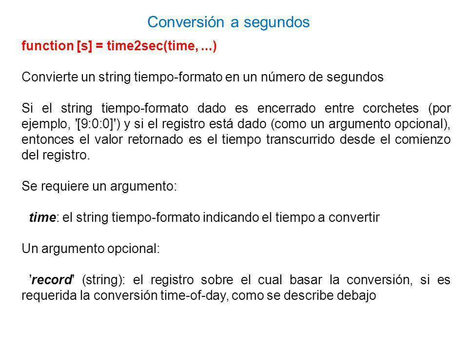 Conversión a segundos function [s] = time2sec(time, ...)